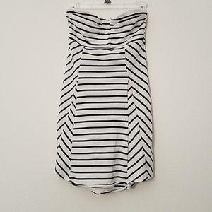 Roxy strapless black and white striped dress
